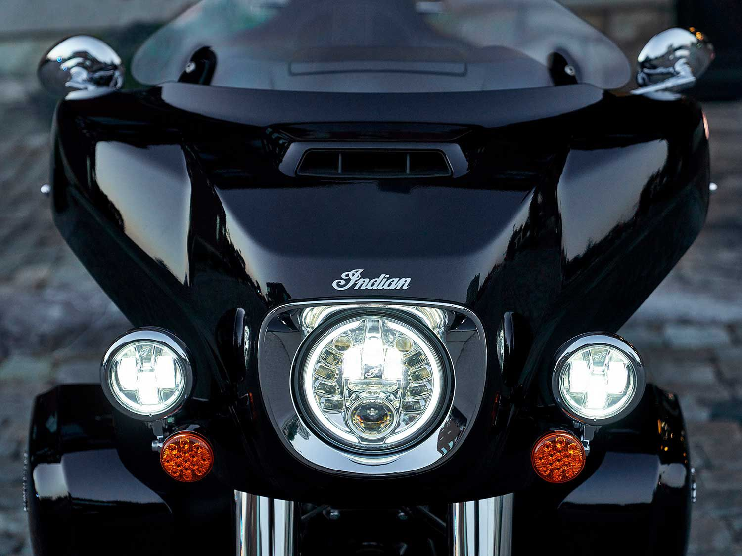 New Pathfinder Adaptive LED Headlight can be fitted to most 2015-2021 Thunder Stroke models. The light senses lean angle and activates individual projector beams to reach dark corners for better visibility.